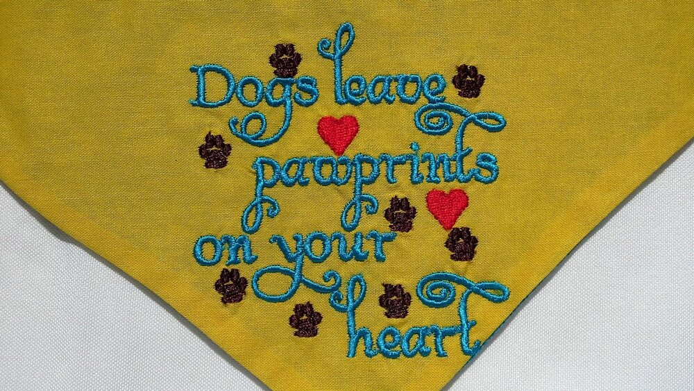 Dog Bandana 32-42cm Dogs Leave Pawprints on Your Heart Design image