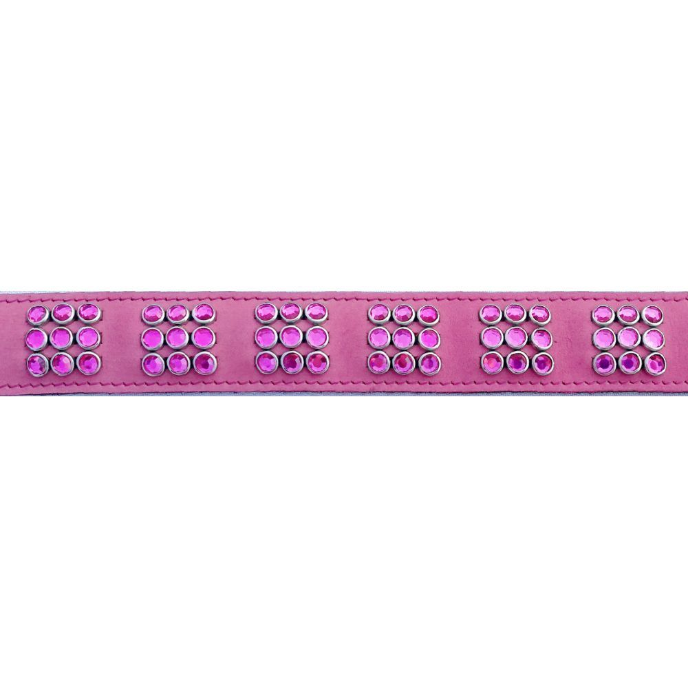 Mikmac Pink Nubuck Square Pink Stones Leather Collar 60cm, 65cm image
