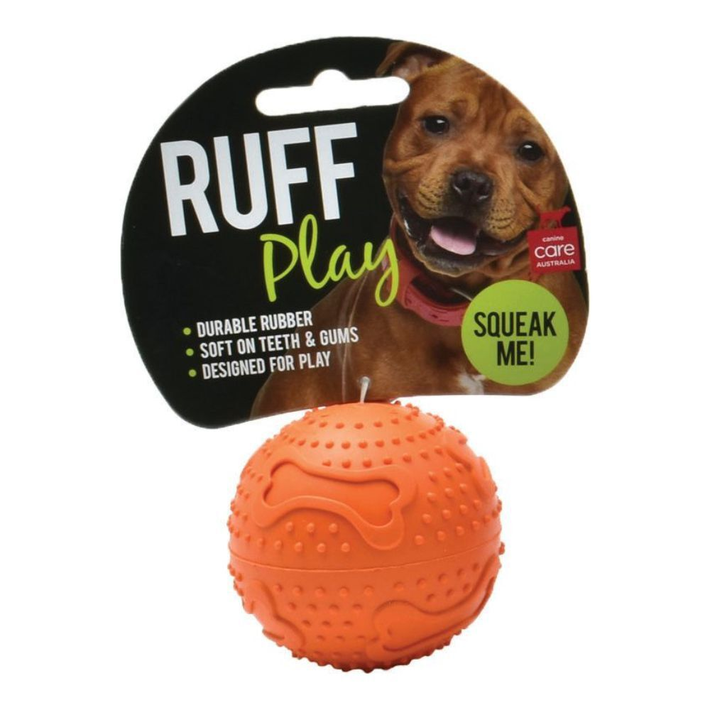 Ruff Play Rubber Squeaker Dog Ball S, M, L, XL image