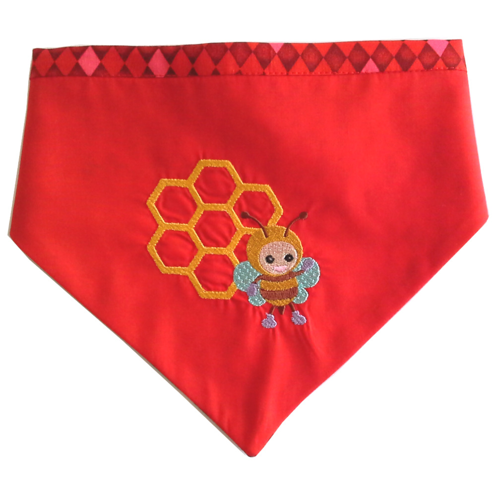 Dog Bandana 40-50cm Red Bee Design