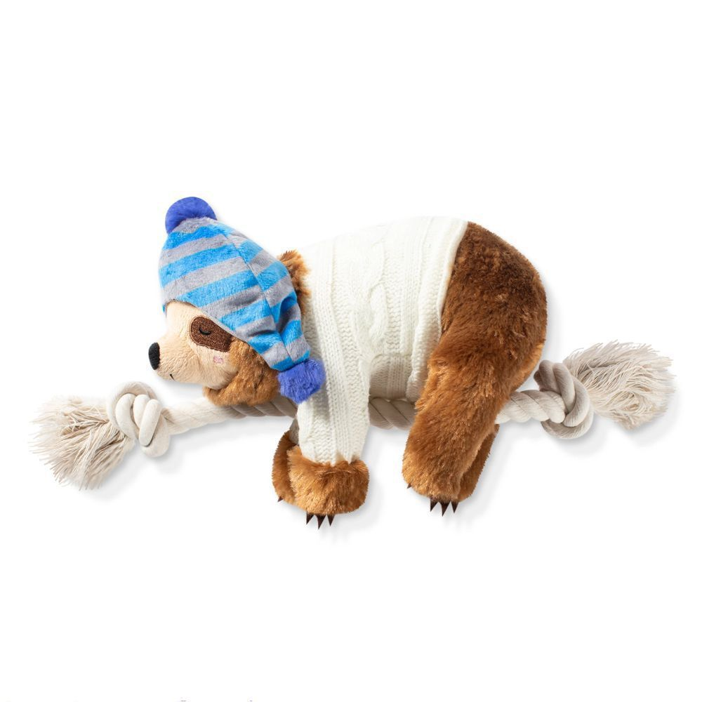 Fringe Studio Beanie Sweater Sloth on a Rope Christmas Dog Toy