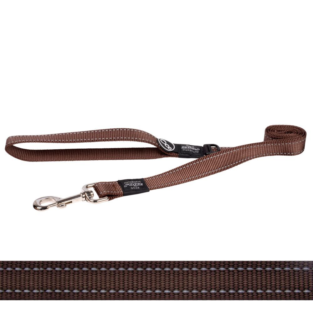 Rogz Classic Lead Reflective Stitching, Brown