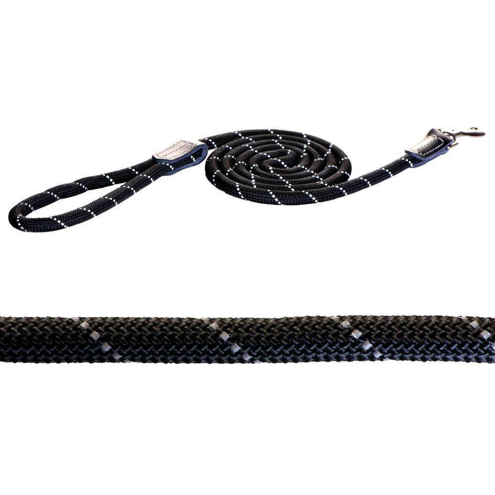 Rogz 1.8m Long Rope Dog Lead (Black, 12mm)