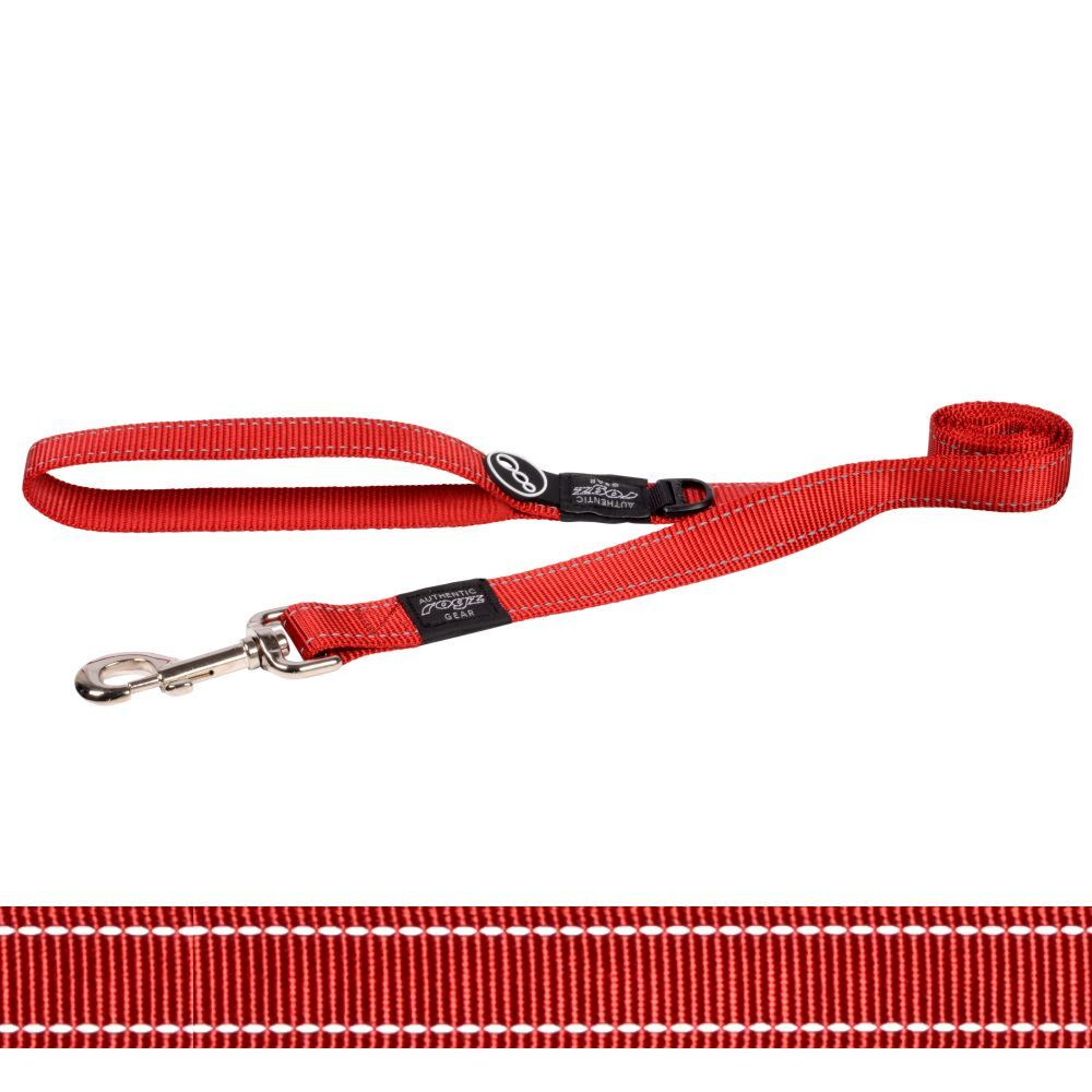 Rogz Classic Lead Reflective Stitching, Red