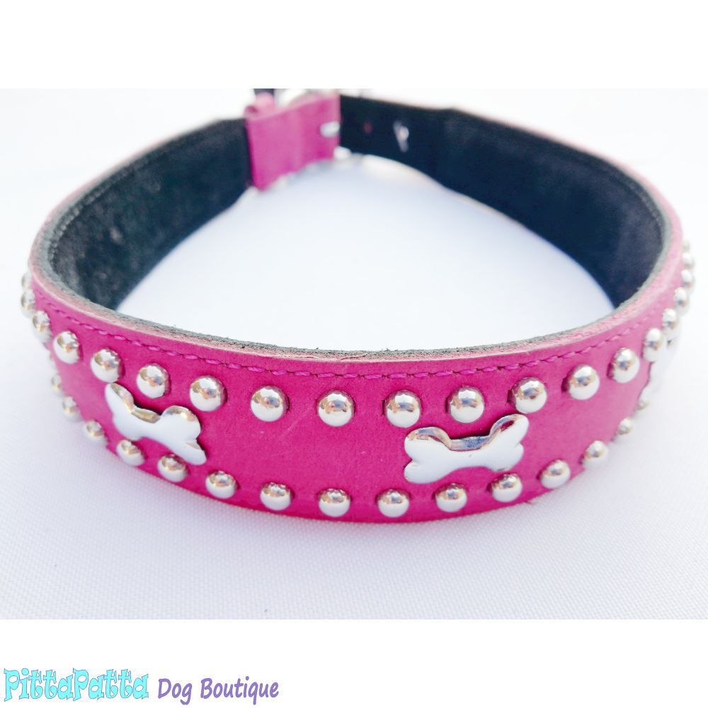 Mikmac Bones Dark Pink Leather Collar 50cm, 55cm