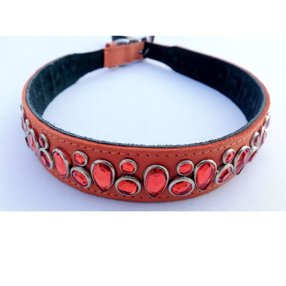 Mikmac Tear Drop Orange Leather Collar 30cm, 50cm, 60cm 65cm