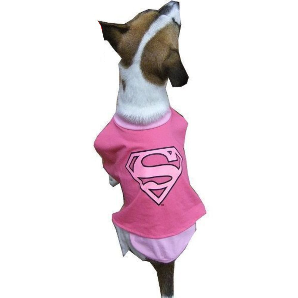 Supergirl Dog Costume (Pink, 6 (XXL) 45cm)