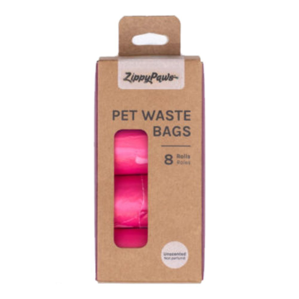 Zippy Paws Pet Waste Bags With Handles 8 Rolls (120 Bags) Pink